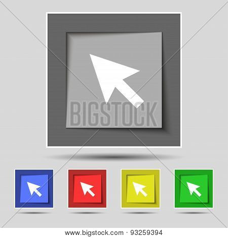 Arrow Cursor, Computer Mouse Icon Sign On Original Five Colored Buttons. Vector