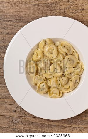 Tortellini with Basil Cream Sauce