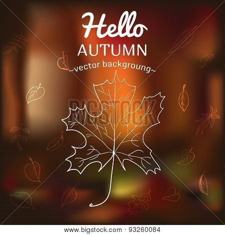 Card with autumn symbols scattered on the background of vague