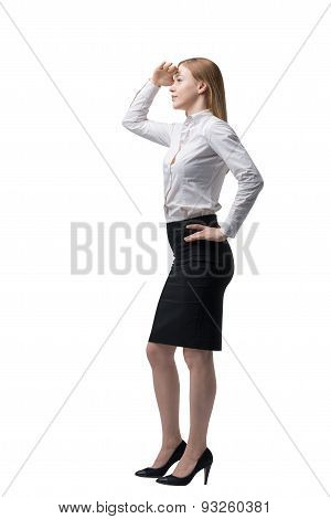 Full Length Beautiful Woman In Formal Clothes Is Looking For The Solution. Isolated.
