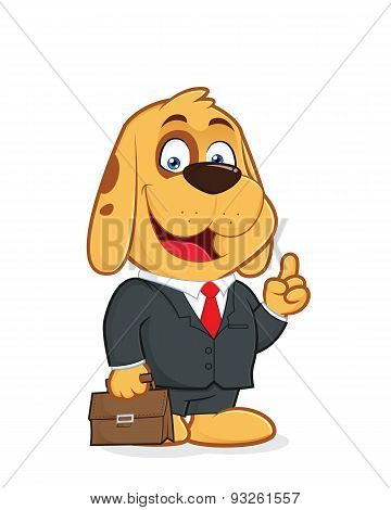 Dog in a suit holding briefcase