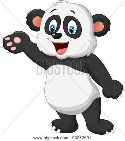Cartoon panda presenting