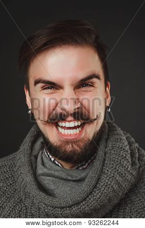 handsome guy with beard in wool pullover