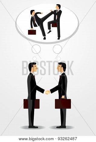 businessmen shaking hands and fighting