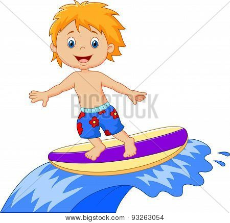 Kids cartoon play surfing on surfboard over big wave