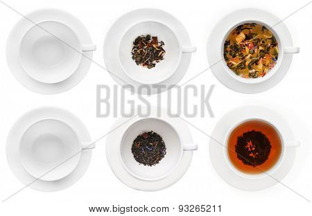 Cups of herbal tea isolated on white