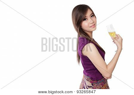 Fresh Model And Champagne, On White