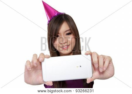 Smiling Party Girl Taking Selfie, On White