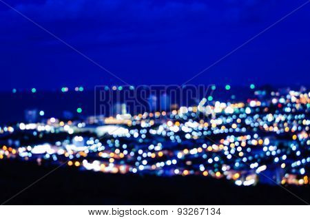 Huahin blurred abstract background lights, beautiful cityscape view