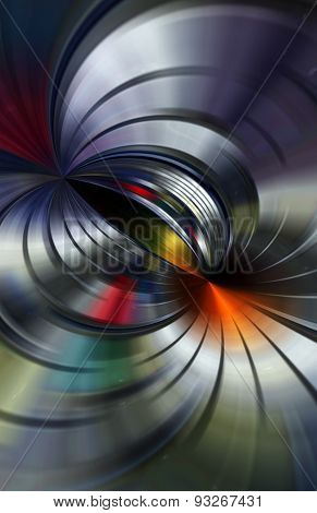 3D illustration of abstract with colored and bright shapes