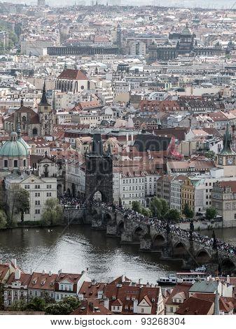 PRAGUE, CZECH REPUBLIC - MAY 2 2015: Charles Bridge full of tourists, Prague, Czech Republic