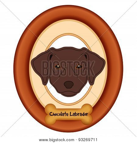 Chocolate Labrador Retriever Portrait, Wood Frame, Dog Bone Treat Tag