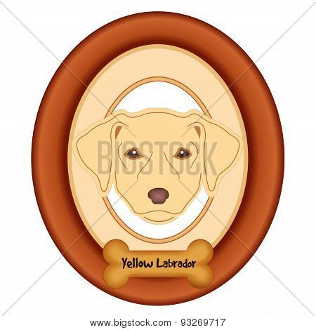 Yellow Labrador Retriever Portrait, Wood Frame, Dog Bone Treat Tag