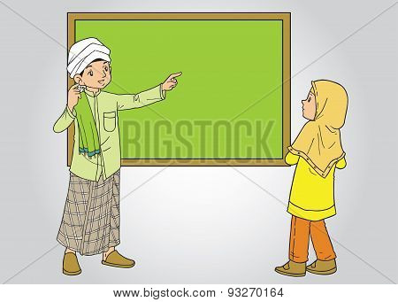 Muslim Man Teaching a Student