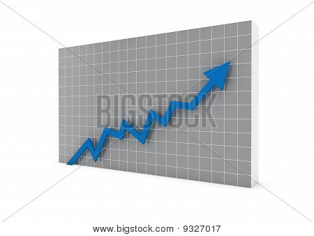 3d graph arrow blue high