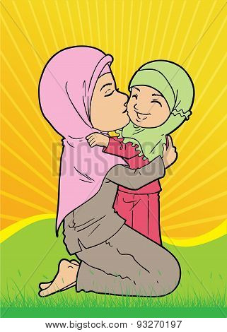 Asian Muslim Mother and Daughter