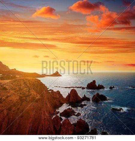 Almeria Cabo de Gata las Sirenas point rocks in Mediterranean sea of Spain