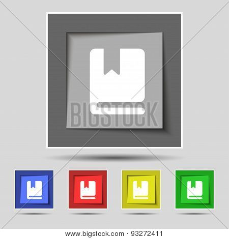 Bookmark Icon Sign On Original Five Colored Buttons. Vector