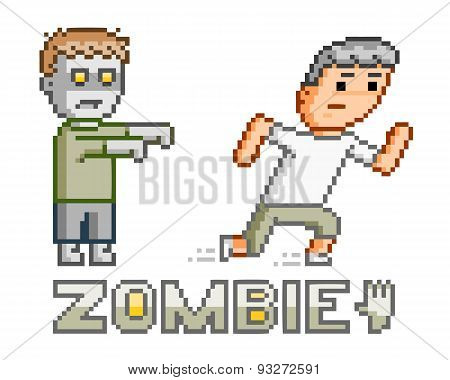 Pixel art zombie and man