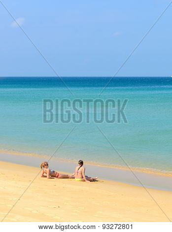 At Leisure, Couple Of People On The Beach