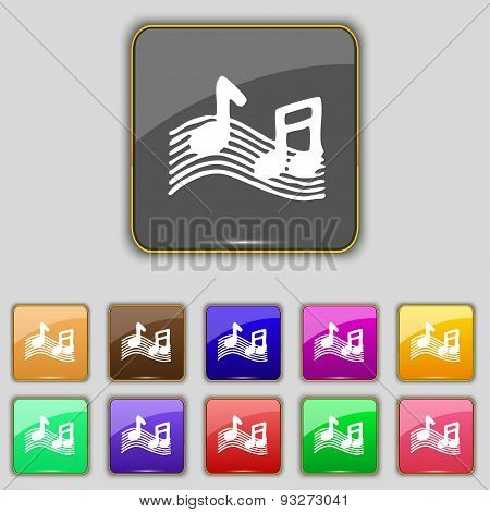Musical Note, Music, Ringtone Icon Sign. Set With Eleven Colored Buttons For Your Site. Vector