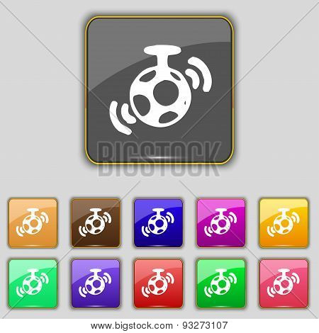 Mirror Ball Disco Icon Sign. Set With Eleven Colored Buttons For Your Site. Vector