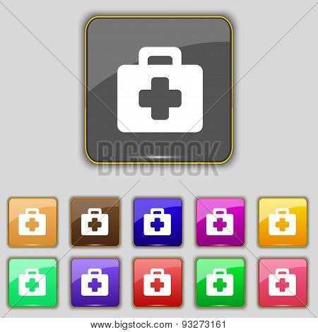 First Aid Kit Icon Sign. Set With Eleven Colored Buttons For Your Site. Vector