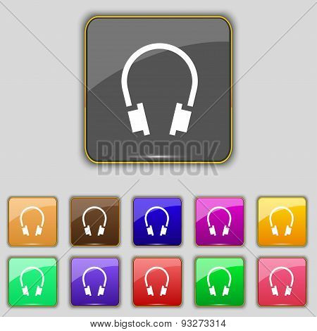Headsets Icon Sign. Set With Eleven Colored Buttons For Your Site. Vector