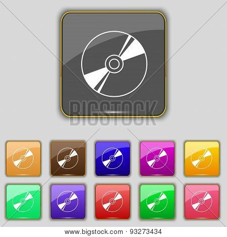 Cd, Dvd, Compact Disk, Blue Ray Icon Sign. Set With Eleven Colored Buttons For Your Site. Vector