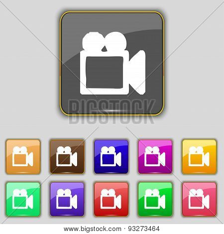Camcorder Icon Sign. Set With Eleven Colored Buttons For Your Site. Vector