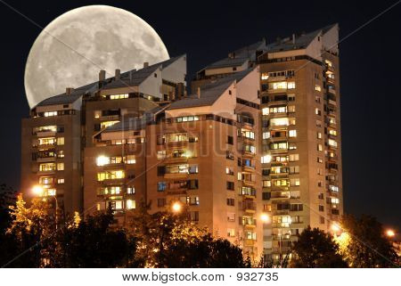 Block Of Flats By Night