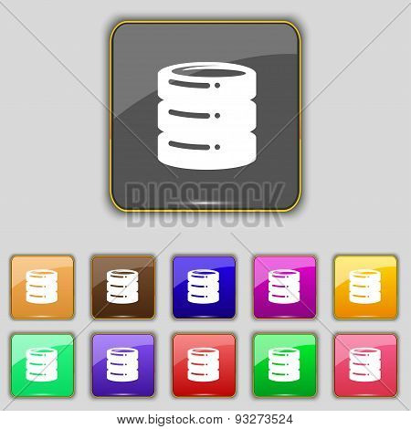 Hard Disk Icon Sign. Set With Eleven Colored Buttons For Your Site. Vector
