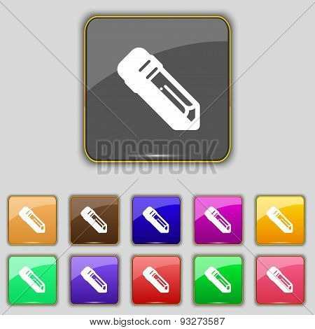 Pencil Icon Sign. Set With Eleven Colored Buttons For Your Site. Vector
