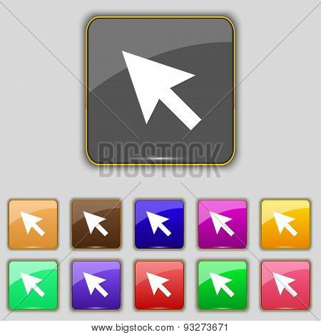 Arrow Cursor, Computer Mouse Icon Sign. Set With Eleven Colored Buttons For Your Site. Vector