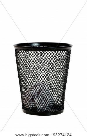 Paper Ball In Black Wastepaper Basket
