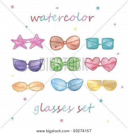 Watercolor sunglasses set