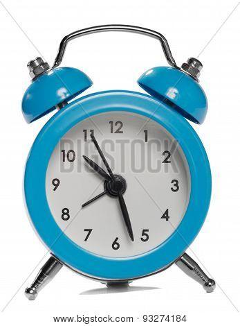 Blue Alarm Clock. Isolated On White Background