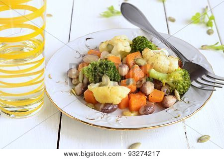 Broccoli cauliflower, squash and beans
