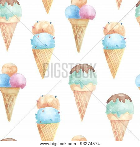 Seamless pattern with ice cream waffle cones