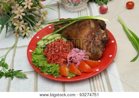 .roasted Pork Knuckle With Vegetables
