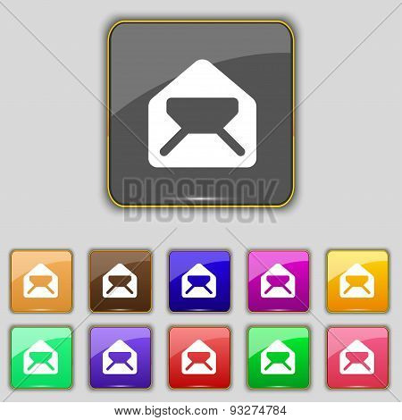 Mail, Envelope, Letter Icon Sign. Set With Eleven Colored Buttons For Your Site. Vector