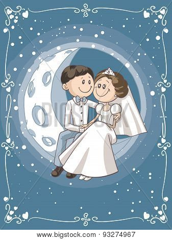 Bride and Groom Sitting on the Moon Vector Cartoon