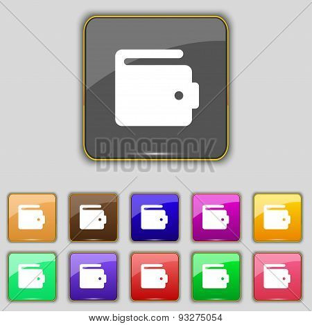 Purse Icon Sign. Set With Eleven Colored Buttons For Your Site. Vector