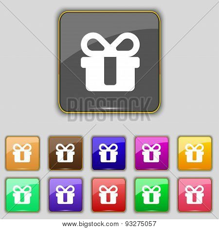 Gift Icon Sign. Set With Eleven Colored Buttons For Your Site. Vector