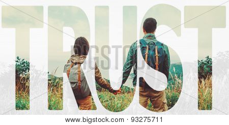 Double exposure word trust with couple