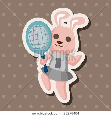 Animal Rabbit Doing Sports Cartoon Theme Elements