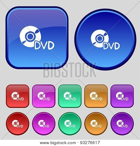 Dvd Icon Sign. A Set Of Twelve Vintage Buttons For Your Design. Vector