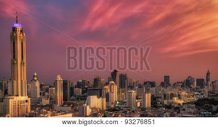 Sunset In Bangkok City
