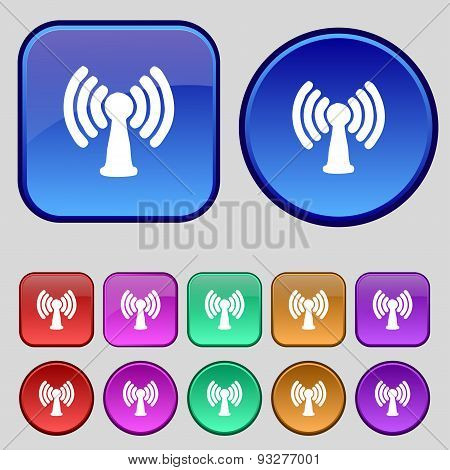 Wi-fi, Internet Icon Sign. A Set Of Twelve Vintage Buttons For Your Design. Vector