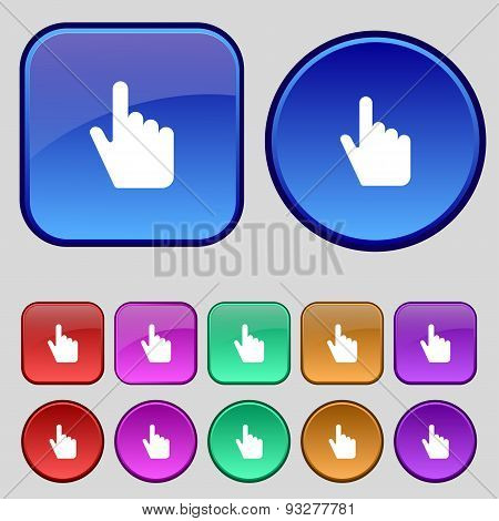 Cursor Icon Sign. A Set Of Twelve Vintage Buttons For Your Design. Vector